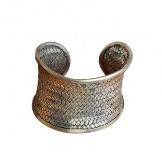 Bracelet argent Miao tressé
